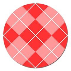 Plaid Triangle Line Wave Chevron Red White Beauty Argyle Magnet 5  (round)