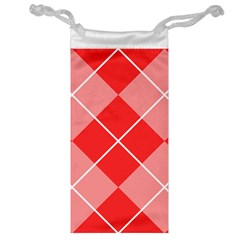 Plaid Triangle Line Wave Chevron Red White Beauty Argyle Jewelry Bag