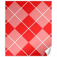 Plaid Triangle Line Wave Chevron Red White Beauty Argyle Canvas 8  x 10