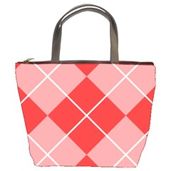 Plaid Triangle Line Wave Chevron Red White Beauty Argyle Bucket Bags