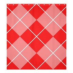 Plaid Triangle Line Wave Chevron Red White Beauty Argyle Shower Curtain 66  x 72  (Large)
