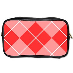 Plaid Triangle Line Wave Chevron Red White Beauty Argyle Toiletries Bags