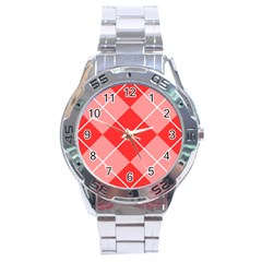 Plaid Triangle Line Wave Chevron Red White Beauty Argyle Stainless Steel Analogue Watch
