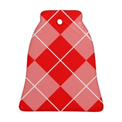 Plaid Triangle Line Wave Chevron Red White Beauty Argyle Ornament (Bell)