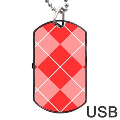 Plaid Triangle Line Wave Chevron Red White Beauty Argyle Dog Tag USB Flash (Two Sides)