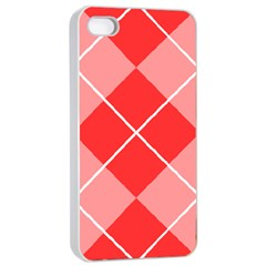 Plaid Triangle Line Wave Chevron Red White Beauty Argyle Apple Iphone 4/4s Seamless Case (white)