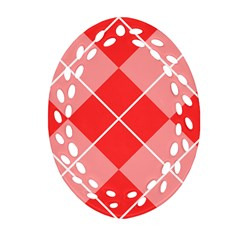 Plaid Triangle Line Wave Chevron Red White Beauty Argyle Oval Filigree Ornament (Two Sides)