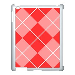 Plaid Triangle Line Wave Chevron Red White Beauty Argyle Apple iPad 3/4 Case (White)