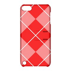 Plaid Triangle Line Wave Chevron Red White Beauty Argyle Apple iPod Touch 5 Hardshell Case with Stand