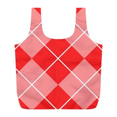 Plaid Triangle Line Wave Chevron Red White Beauty Argyle Full Print Recycle Bags (L)