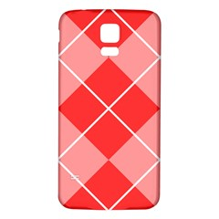 Plaid Triangle Line Wave Chevron Red White Beauty Argyle Samsung Galaxy S5 Back Case (White)