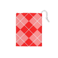 Plaid Triangle Line Wave Chevron Red White Beauty Argyle Drawstring Pouches (Small)