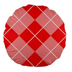 Plaid Triangle Line Wave Chevron Red White Beauty Argyle Large 18  Premium Flano Round Cushions