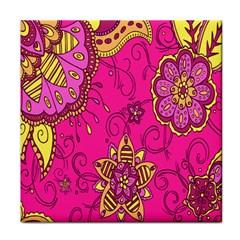 Pink Lemonade Flower Floral Rose Sunflower Leaf Star Pink Tile Coasters