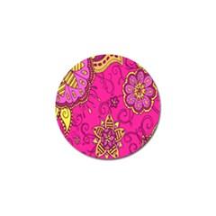 Pink Lemonade Flower Floral Rose Sunflower Leaf Star Pink Golf Ball Marker (4 pack)