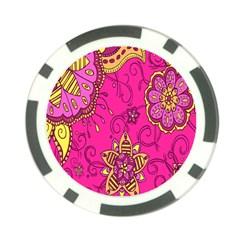 Pink Lemonade Flower Floral Rose Sunflower Leaf Star Pink Poker Chip Card Guard