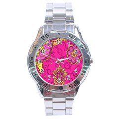 Pink Lemonade Flower Floral Rose Sunflower Leaf Star Pink Stainless Steel Analogue Watch