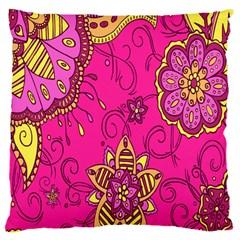 Pink Lemonade Flower Floral Rose Sunflower Leaf Star Pink Large Cushion Case (One Side)