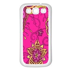 Pink Lemonade Flower Floral Rose Sunflower Leaf Star Pink Samsung Galaxy S3 Back Case (white)