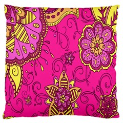 Pink Lemonade Flower Floral Rose Sunflower Leaf Star Pink Large Flano Cushion Case (Two Sides)