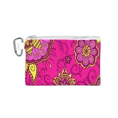 Pink Lemonade Flower Floral Rose Sunflower Leaf Star Pink Canvas Cosmetic Bag (S)