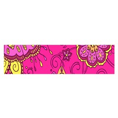 Pink Lemonade Flower Floral Rose Sunflower Leaf Star Pink Satin Scarf (Oblong)