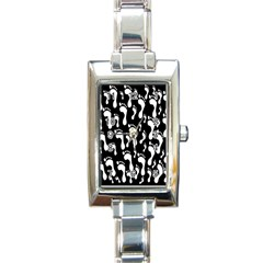 Population Soles Feet Foot Black White Rectangle Italian Charm Watch
