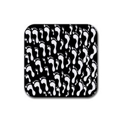 Population Soles Feet Foot Black White Rubber Square Coaster (4 pack)