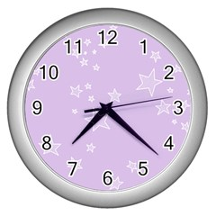Star Lavender Purple Space Wall Clocks (Silver)
