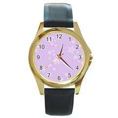 Star Lavender Purple Space Round Gold Metal Watch