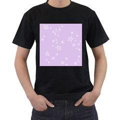 Star Lavender Purple Space Men s T-Shirt (Black) (Two Sided)