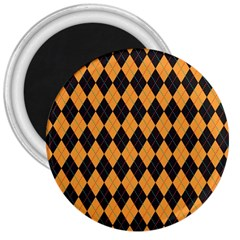 Plaid Triangle Line Wave Chevron Yellow Red Blue Orange Black Beauty Argyle 3  Magnets
