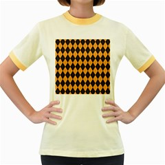 Plaid Triangle Line Wave Chevron Yellow Red Blue Orange Black Beauty Argyle Women s Fitted Ringer T Shirts