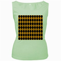 Plaid Triangle Line Wave Chevron Yellow Red Blue Orange Black Beauty Argyle Women s Green Tank Top