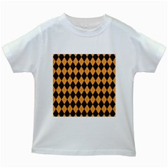 Plaid Triangle Line Wave Chevron Yellow Red Blue Orange Black Beauty Argyle Kids White T Shirts