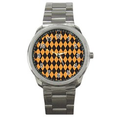 Plaid Triangle Line Wave Chevron Yellow Red Blue Orange Black Beauty Argyle Sport Metal Watch