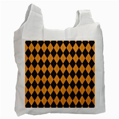 Plaid Triangle Line Wave Chevron Yellow Red Blue Orange Black Beauty Argyle Recycle Bag (two Side)