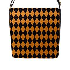 Plaid Triangle Line Wave Chevron Yellow Red Blue Orange Black Beauty Argyle Flap Messenger Bag (L)
