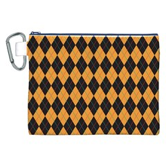 Plaid Triangle Line Wave Chevron Yellow Red Blue Orange Black Beauty Argyle Canvas Cosmetic Bag (XXL)