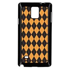 Plaid Triangle Line Wave Chevron Yellow Red Blue Orange Black Beauty Argyle Samsung Galaxy Note 4 Case (Black)