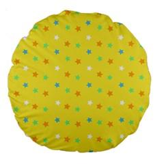 Star Rainbow Coror Purple Gold White Blue Yellow Large 18  Premium Round Cushions