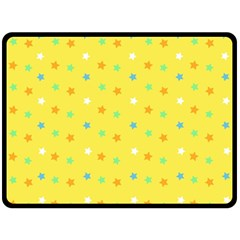 Star Rainbow Coror Purple Gold White Blue Yellow Double Sided Fleece Blanket (Large)