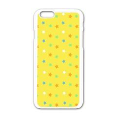 Star Rainbow Coror Purple Gold White Blue Yellow Apple iPhone 6/6S White Enamel Case