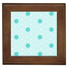Star White Fan Blue Framed Tiles