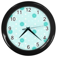 Star White Fan Blue Wall Clocks (Black)