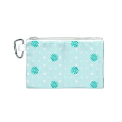Star White Fan Blue Canvas Cosmetic Bag (S)