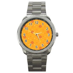 Star White Fan Orange Gold Sport Metal Watch