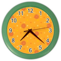 Star White Fan Orange Gold Color Wall Clocks