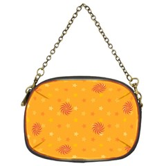 Star White Fan Orange Gold Chain Purses (Two Sides)