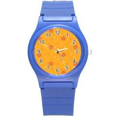 Star White Fan Orange Gold Round Plastic Sport Watch (S)